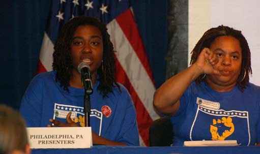 Kia Hinton, left, of Philadelphia, testifies at the US Dept of Education on Jan. 29. At right is Dawn Hawkins.
